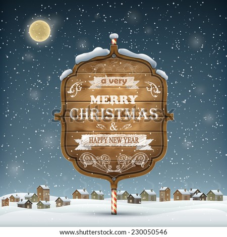 Evening Landscape With Christmas Wooden Greeting Signboard - stock photo