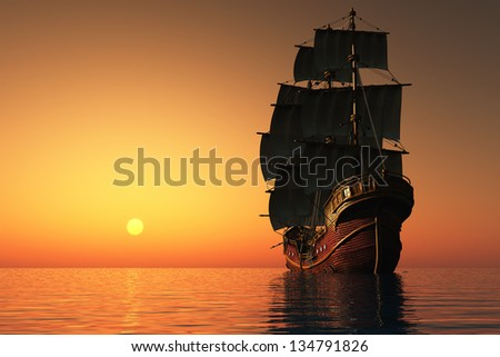 Evening Landscape with sailing ship in the sea. - stock photo