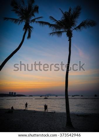 Evening light beach, Pattaya, Thailand - stock photo