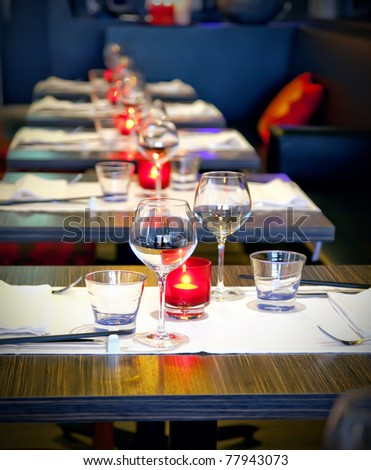 evening light in empty restaurant - stock photo