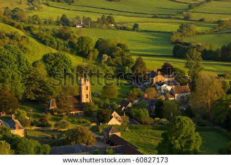 Evening light looking down onto the village of Corton Denham, Somerset, UK