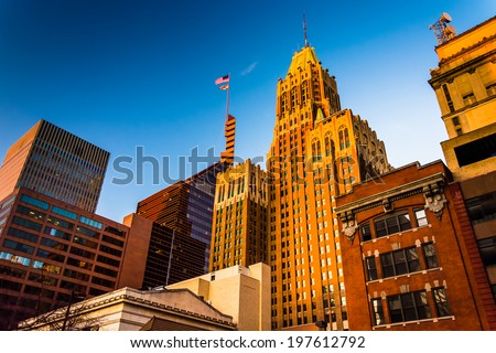 Evening light on a cluster of buildings in downtown Baltimore, Maryland. - stock photo