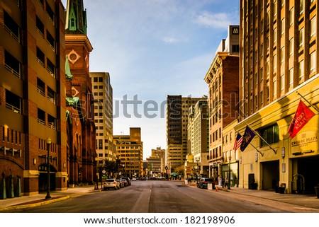 Evening light on buildings on 2nd Street in Harrisburg, Pennsylvania. - stock photo