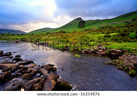 evening light on Erriff River, Co.Mayo, Ireland -near Aasleagh Fall and Killary Harbour - stock photo