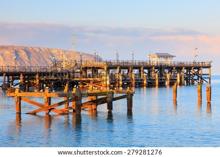 Evening light on the Pier at Swanage Dorset England UK Europe - stock photo
