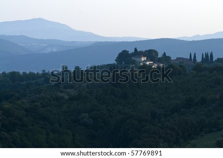 Evening light on Tuscan Villa near Florence