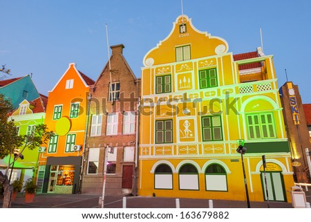 Evening lights in Willemstad, Curacao - stock photo