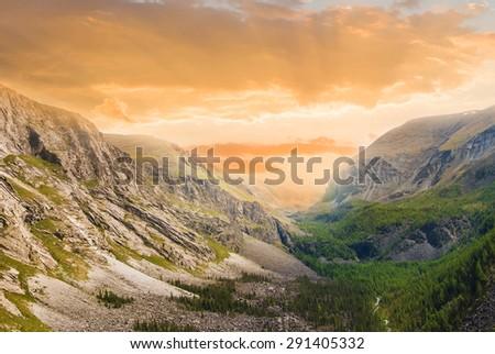 evening mountain valley - stock photo