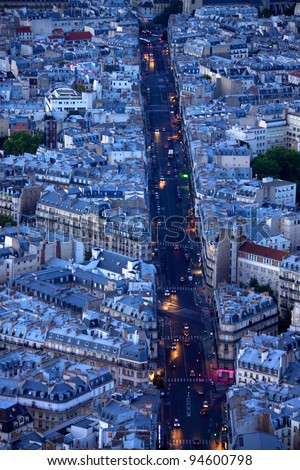 Evening on boulevard Saint Michel in Paris as seen from the top of Tour Montparnasse - stock photo