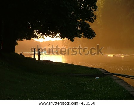 evening on the river - stock photo