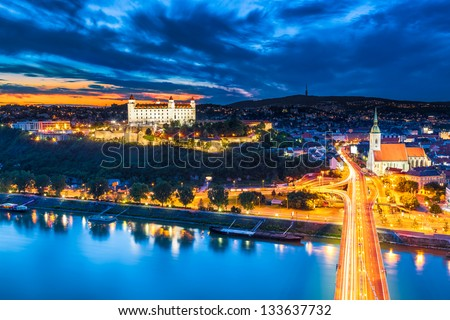 Evening Panorama of Bratislava, Slovakia - stock photo