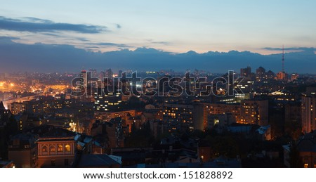 Evening panorama of Kiev