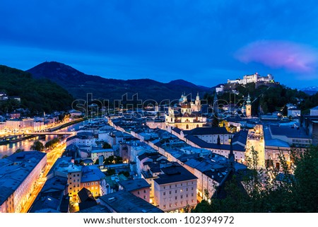 Evening panorama of the city Salzburg in Austria - stock photo