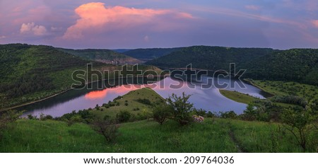 Evening panorama of the river in Podolsk Tovtry - stock photo
