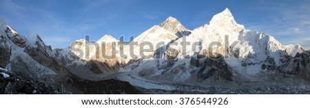 Evening panoramic view of Mount Everest from Kala Patthar - Way to Everest base camp, Everest area, Sagarmatha national park, Khumbu valley, Nepal