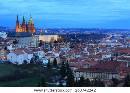 Evening Prague City with gothic Castle, Czech Republic - stock photo