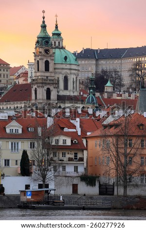 Evening Prague St. Nicholas' Cathedral, Czech Republic - stock photo