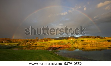Evening Rainbow over Traigh Golf Course at Arisaig in the Scottish Highlands.