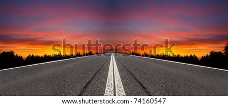 Evening road - stock photo