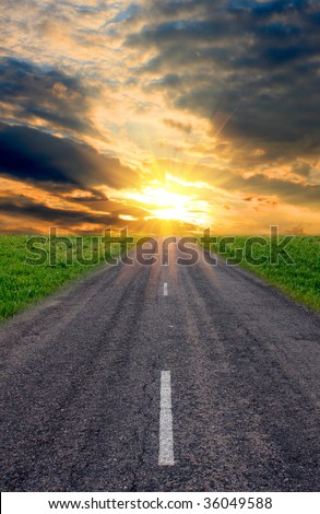evening road to sunset