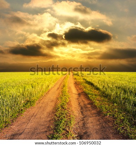 evening rural landscape with a road - stock photo
