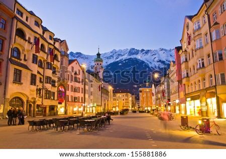 Evening scene in Innsbruck, Austria. - stock photo