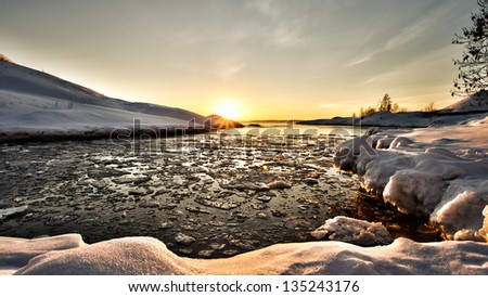 Evening seashore at winter - stock photo