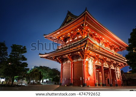 Evening shot of the Kaminarimon gate of the Sensoji Temple, also known as Asakusa Kannon Temple, in Tokyo Japan.