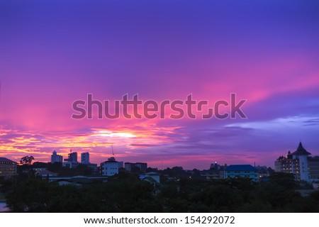 Evening Sky Over Naklua. North of Pattaya City, Thailand. - stock photo