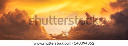 evening sky panorama - stock photo