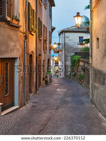 Evening small street Tuscany, Italy