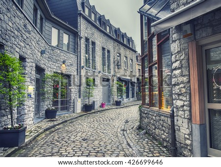 evening street in old Belgium town, Ardennes