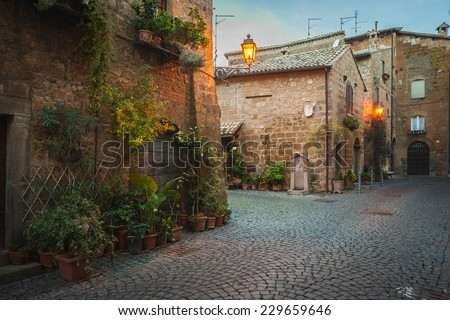 Evening streets of the old Italian city of Orvieto - stock photo