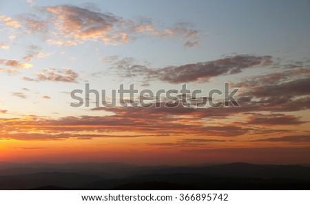 Evening suncet view of beautiful sky - stock photo