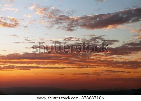 Evening sunset view of beautiful sky - stock photo