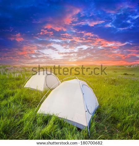 evening touristic camp - stock photo