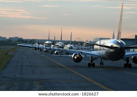 evening traffic at New York JFK airport - stock photo