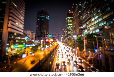 Evening traffic. The city lights. Motion blur. - stock photo
