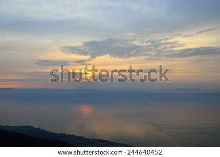 Evening view at Sea of Galilee from Golan Heights, Israel - stock photo