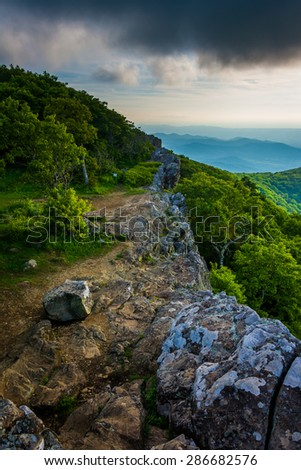 Evening view from Hawksbill Summit, in Shenandoah National Park, Virginia. - stock photo