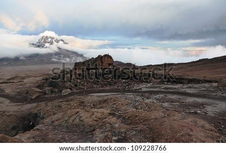 Evening view from the slopes of Kilimanjaro peak Mawenzi - Tanzania, East Africa - stock photo