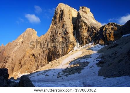 evening view in pale di san martino - cima di focobon - dolomiti italy - stock photo