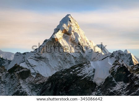 Evening view of Ama Dablam on the way to Everest Base Camp, Sagarmatha national park, Khumbu valley, Nepal - stock photo