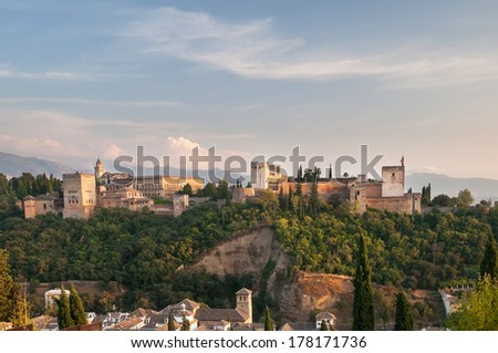 Evening view of ancient arabic fortress of Alhambra, Granada, Spain. - stock photo