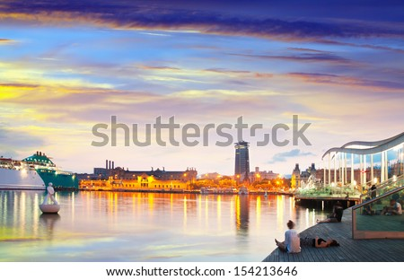 evening view of Barcelona from Port Vell. Catalonia, Spain - stock photo