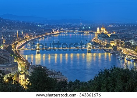 Evening view of Danube with Szechenyi Chain Bridge and Hungarian Parliament Building from Gellert Hill in Budapest, Hungary - stock photo