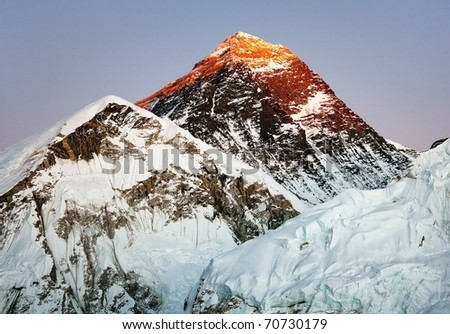 evening view of everest from kala patthar - stock photo