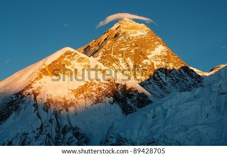 evening view of Everest with small cloud - stock photo