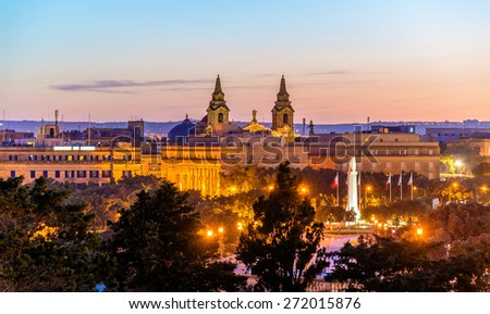 Evening view of Floriana town in Malta - stock photo