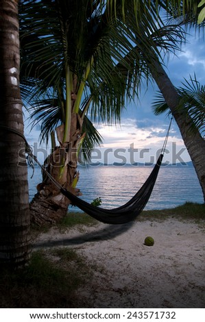 Evening view of hammock strung between two palms on tropical island. - stock photo